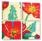 Conquelicots Trois 4 Piece Gallery Wrapped Canvas Set