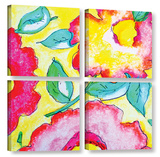 Pretty Posies 4 Piece Gallery Wrapped Canvas Set