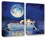 Panda Blue Moon 2 Piece Gallery Wrapped Canvas Set