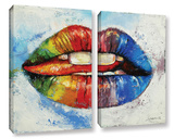 Lips 2 Piece Gallery Wrapped Canvas Set