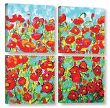 Poppy Waltz 4 Piece Gallery Wrapped Canvas Set
