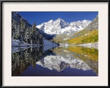 The Maroon Bells Casting Reflections in a Calm Lake in Autumn