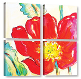 Le Coquelicot 4 Piece Gallery Wrapped Canvas Set