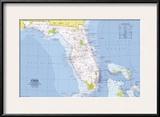 1973 Close-up USA  Florida Map