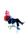 Darth in the Chair Watercolor Reproduction d'art par Lora Feldman