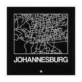 Black Map of Johannesburg Reproduction d'art par NaxArt