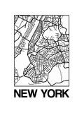 White Map of New York Reproduction d'art par NaxArt