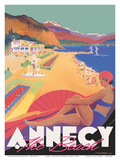 Lake Annecy - The Beach - France - Chemins de fer de Paris-Lyon-Mediterranée Railway (PLM)