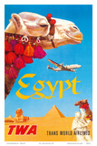 Egypt - TWA (Trans World Airlines) - Egyptian Camels, Pyramid, Sphinx Reproduction d'art par David Klein