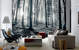 Black and White Forest Mural