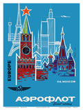Europe via Moscow - Aeroflot (Soviet Airlines) - National Airline of Russia