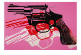 Gun, c. 1981-82 (black, white, red on pink) Reproduction d'art par Andy Warhol