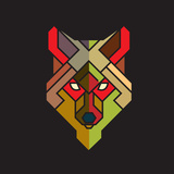 Abstract Wolf Graphic with Colorful Geometric Pattern  Vector
