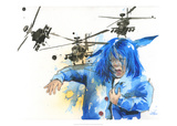 Girl and Helicopters Reproduction d'art par Lora Zombie