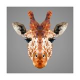 Giraffe Low Poly Portrait Reproduction d'art par Kakmyc