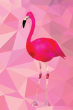 Pink Flamingo Bird Triangle Vector Poster Reproduction d'art par Moetz