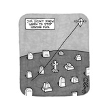 """""""Jim Didn't Know When to Stop Having Fun"""" -- A kite flies on a string comi - New Yorker Cartoon"""
