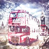 City Art London Red Busses Reproduction d'art par Melanie Viola