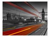 London Westminster Bridge & Red Bus Reproduction d'art par Melanie Viola