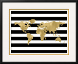 World Map Black White Stripe