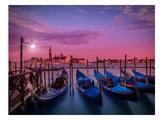 Venice Gondolas At Sunset Reproduction d'art par Melanie Viola