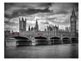 London Houses Of Parliament & Red Busses Reproduction d'art par Melanie Viola