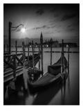 Venice Gondolas At Sunrise - Monochrome Reproduction d'art par Melanie Viola