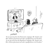 """In our top story from the Democratic campaign  Mr Sanders and Mrs ClintÉ"" - Cartoon"