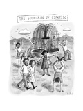 TITLE: THE FOUNTAIN OF ESPRESSO  surrounded by people energized  jumping a - New Yorker Cartoon