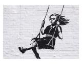 Fillette sur une balançoire Reproduction d'art par Banksy