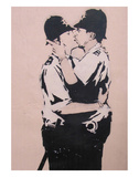 Kissing policemen Reproduction d'art par Banksy