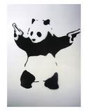 Pandémonium: pochoir noir et blanc, avec panda et revolvers Reproduction d'art par Unknown Banksy