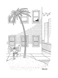 A man on a desert island on a city street waving to a ship up in a window - New Yorker Cartoon