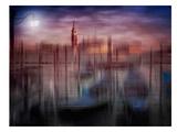 City Art Venice Gondolas At Sunset Reproduction d'art par Melanie Viola