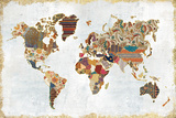 Pattern World Map Reproduction d'art par Laura Marshall