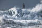 Bretagne Ocean Waves over the Lighthouse
