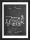 Train Locomotive Patent Reproduction encadrée