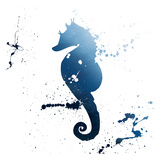 Seahorse Splatter Indigo Reproduction d'art par Jace Grey