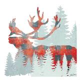 Plaid Caribou Forest Reproduction d'art par Tina Carlson