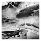 Vintage Plane Montage BW