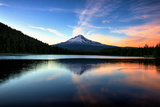 Late Sunset Reflection and Clouds at Trillium Lake  Mount Hood Oregon