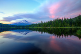 Summer Sunset Reflection at Trillium Lake  Oregon Wilderness