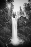 Falls Creek Falls in Black and White  Washington  Columbia River Gorge
