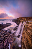 Blustery Phillips Gulch Waterfall at Sunset  Sonoma Coast  California