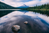 Mount Hood and Clouds in Reflection  Trillium Lake Wilderness Oregon