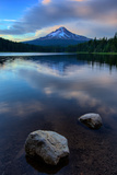 Lake Rocks and Clouds  Trillium Lake Reflection  Summer Mount Hood Oregon