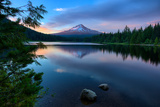 Day's End at Trillium Lake Reflection  Summer Mount Hood Oregon