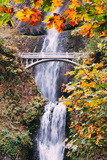 Autumn at Multnomah Falls  Portrait  Hood River  Columbia River Gorge  Oregon