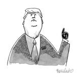 Donald Trump wearing a tiny 1 foam finger - New Yorker Cartoon