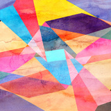 Abstract Watercolor Geometric Background Reproduction d'art par Tanor27